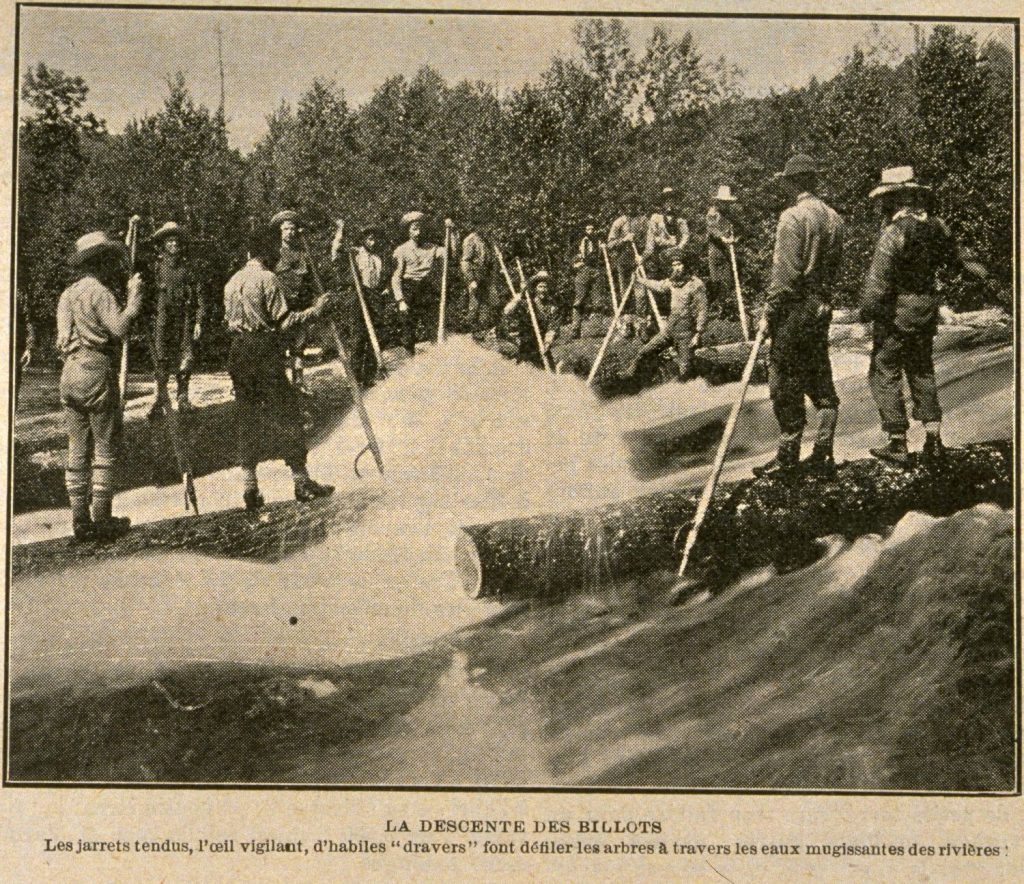 La descente des billots. Album universel, vol. 21, no. 1077, p. 629, 10 décembre 1904